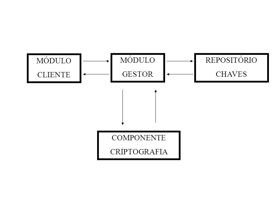 MÓDULO CLIENTE MÓDULO GESTOR REPOSITÓRIO CHAVES COMPONENTE CRIPTOGRAFIA
