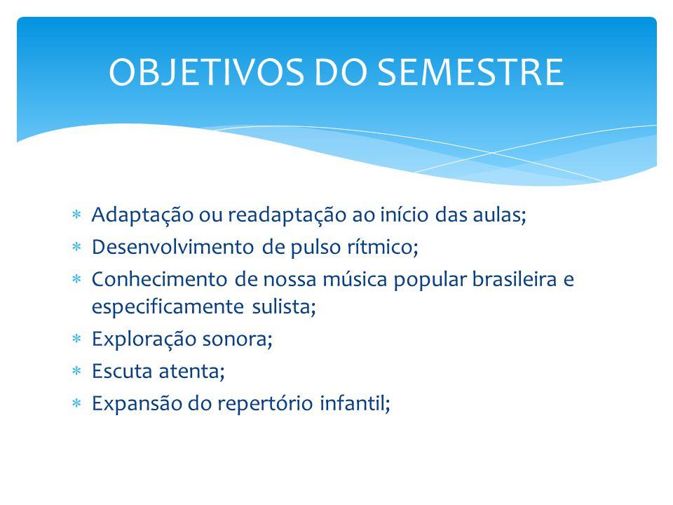  Adaptação ou readaptação ao início das aulas;  Desenvolvimento de pulso rítmico;  Conhecimento de nossa música popular brasileira e especificament