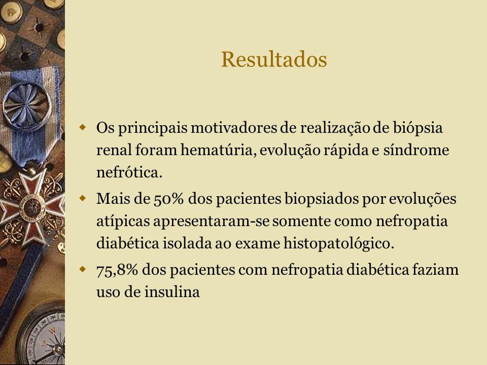 Resultados  Os principais motivadores de realização de biópsia renal foram hematúria, evolução rápida e síndrome nefrótica.  Mais de 50% dos pacient