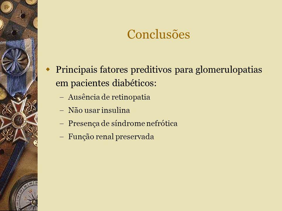 Conclusões  Principais fatores preditivos para glomerulopatias em pacientes diabéticos: – Ausência de retinopatia – Não usar insulina – Presença de s