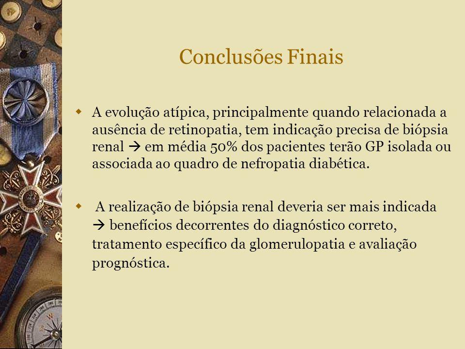 Conclusões Finais  A evolução atípica, principalmente quando relacionada a ausência de retinopatia, tem indicação precisa de biópsia renal  em média