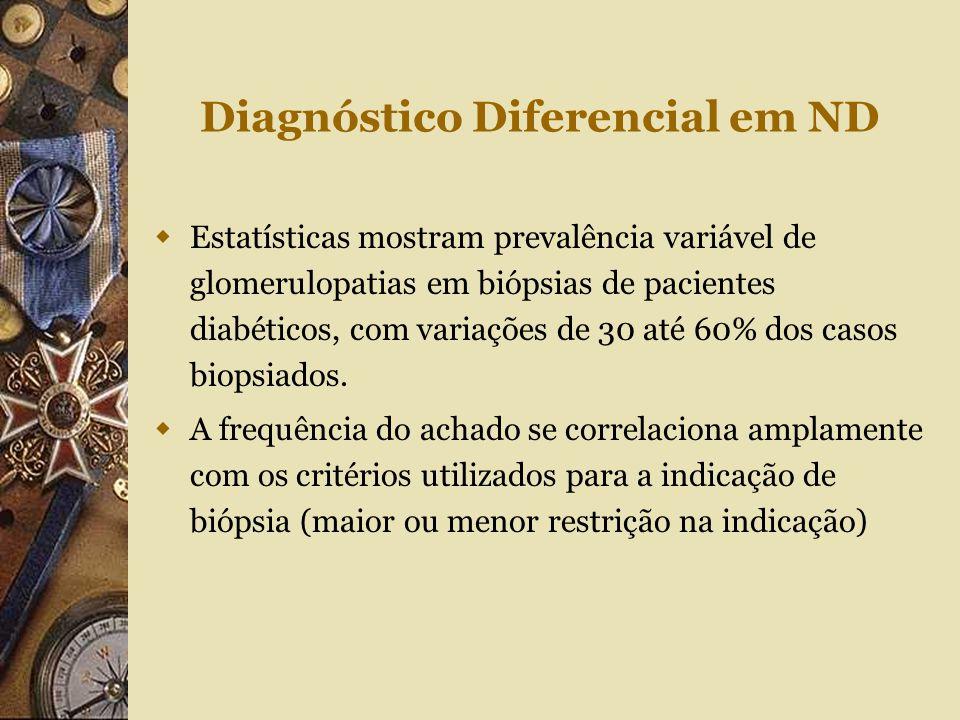 Diagnóstico Diferencial em ND  Estatísticas mostram prevalência variável de glomerulopatias em biópsias de pacientes diabéticos, com variações de 30
