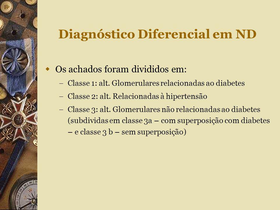 Diagnóstico Diferencial em ND  Os achados foram divididos em: – Classe 1: alt. Glomerulares relacionadas ao diabetes – Classe 2: alt. Relacionadas à
