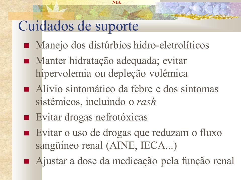 NIA Cuidados de suporte Manejo dos distúrbios hidro-eletrolíticos Manter hidratação adequada; evitar hipervolemia ou depleção volêmica Alívio sintomát