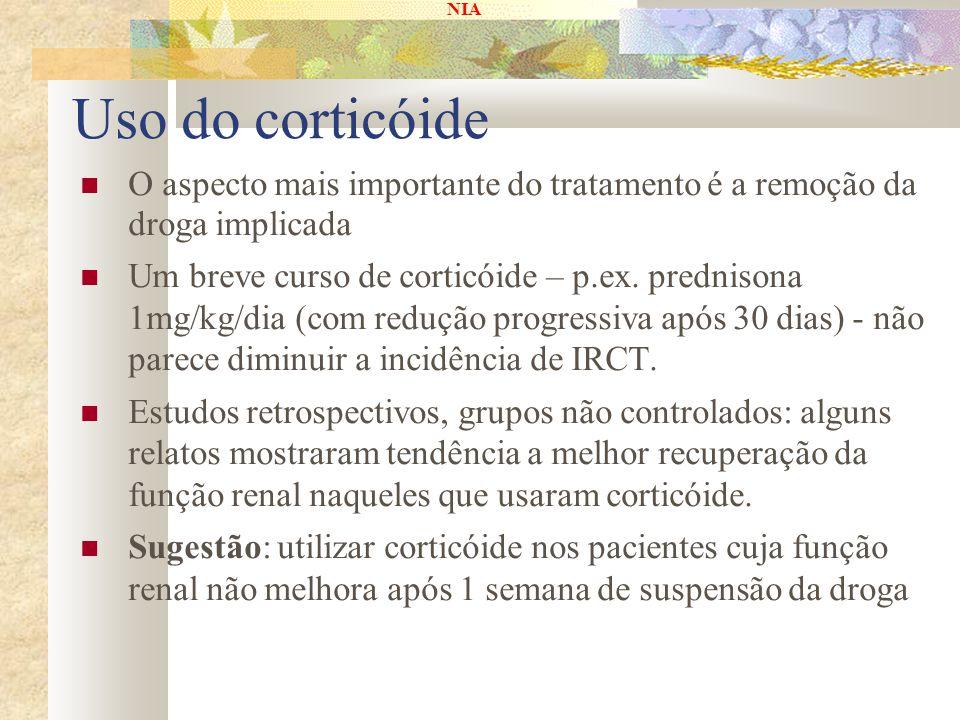 NIA Uso do corticóide O aspecto mais importante do tratamento é a remoção da droga implicada Um breve curso de corticóide – p.ex. prednisona 1mg/kg/di