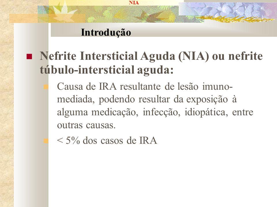 NIA Nefrite Intersticial Aguda (NIA) ou nefrite túbulo-intersticial aguda: Causa de IRA resultante de lesão imuno- mediada, podendo resultar da exposi