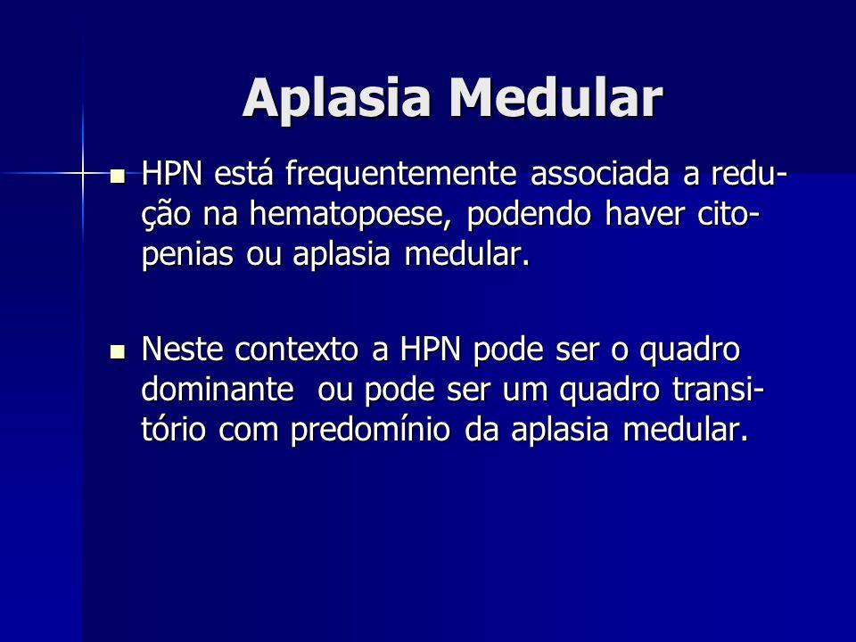 Aplasia Medular HPN está frequentemente associada a redu- ção na hematopoese, podendo haver cito- penias ou aplasia medular. HPN está frequentemente a
