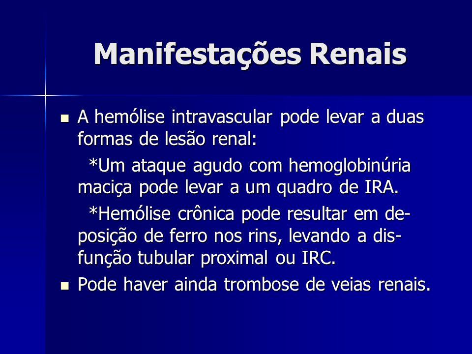 Manifestações Renais A hemólise intravascular pode levar a duas formas de lesão renal: A hemólise intravascular pode levar a duas formas de lesão renal: *Um ataque agudo com hemoglobinúria maciça pode levar a um quadro de IRA.