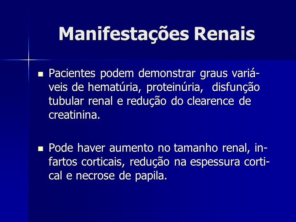 Manifestações Renais Pacientes podem demonstrar graus variá- veis de hematúria, proteinúria, disfunção tubular renal e redução do clearence de creatinina.