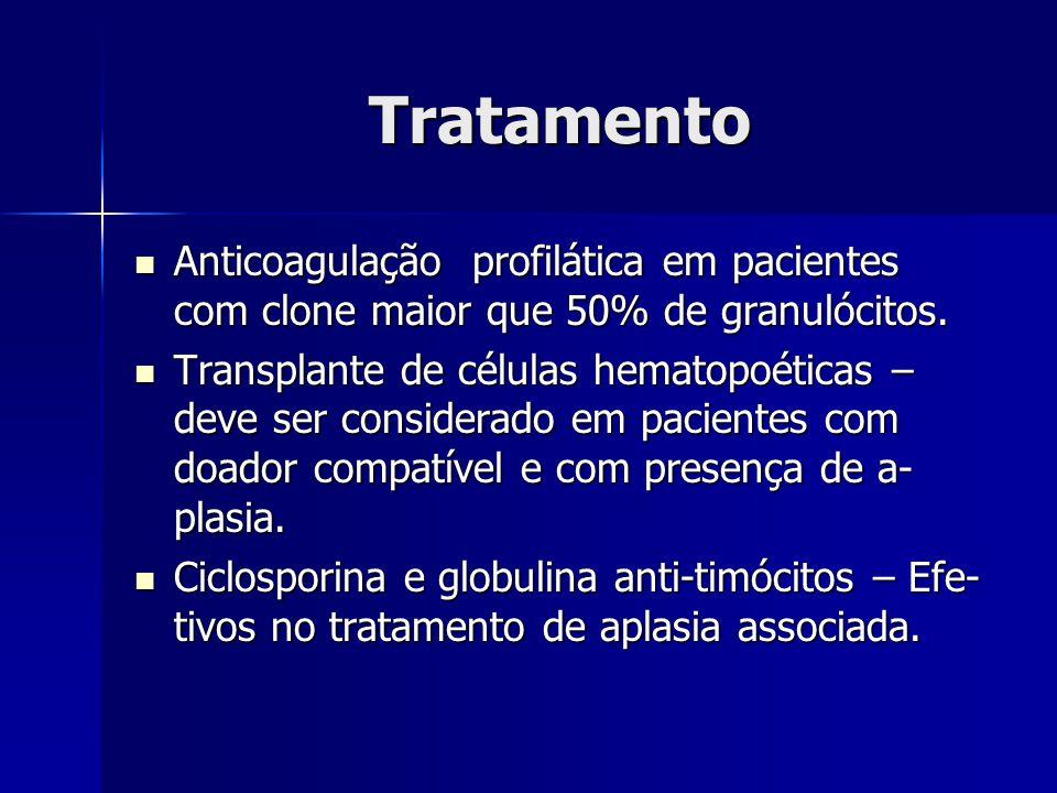 Tratamento Anticoagulação profilática em pacientes com clone maior que 50% de granulócitos.