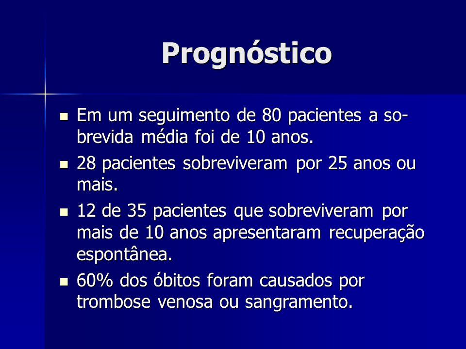 Prognóstico Em um seguimento de 80 pacientes a so- brevida média foi de 10 anos. Em um seguimento de 80 pacientes a so- brevida média foi de 10 anos.