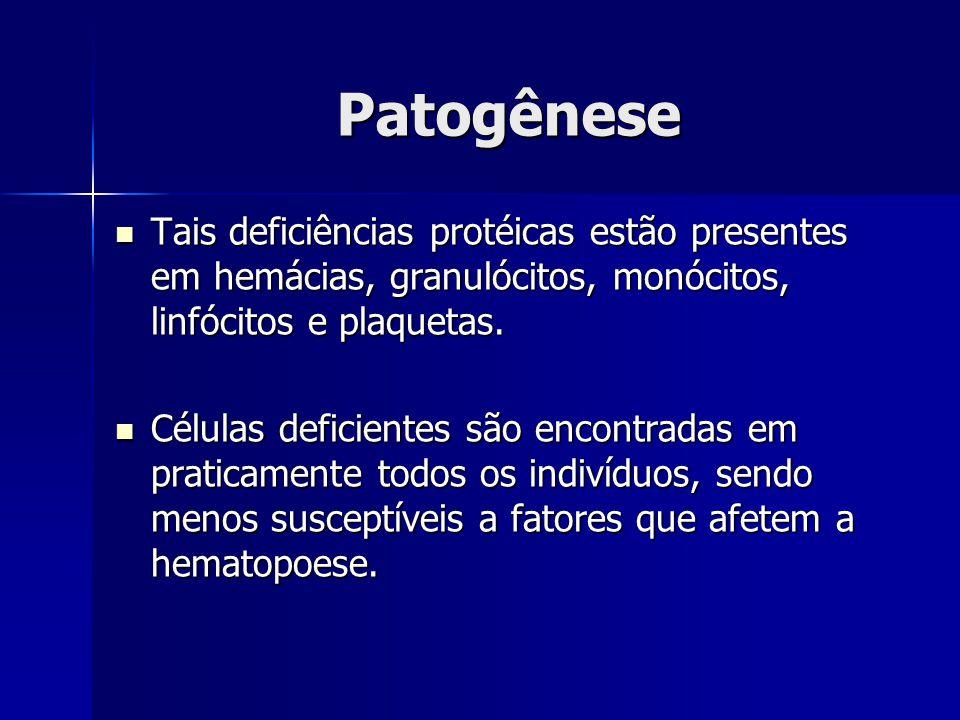 Patogênese Tais deficiências protéicas estão presentes em hemácias, granulócitos, monócitos, linfócitos e plaquetas. Tais deficiências protéicas estão