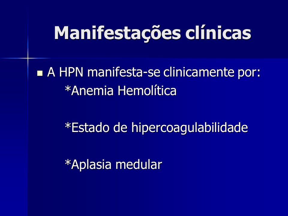 Manifestações clínicas A HPN manifesta-se clinicamente por: A HPN manifesta-se clinicamente por: *Anemia Hemolítica *Anemia Hemolítica *Estado de hipercoagulabilidade *Estado de hipercoagulabilidade *Aplasia medular *Aplasia medular