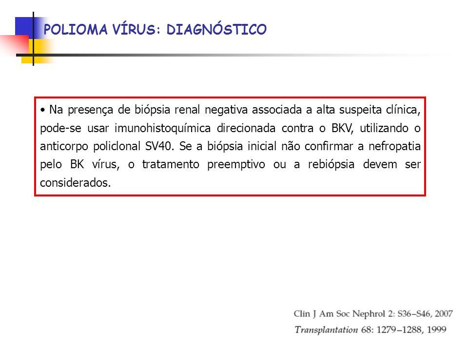 POLIOMA VÍRUS: DIAGNÓSTICO Na presença de biópsia renal negativa associada a alta suspeita clínica, pode-se usar imunohistoquímica direcionada contra o BKV, utilizando o anticorpo policlonal SV40.