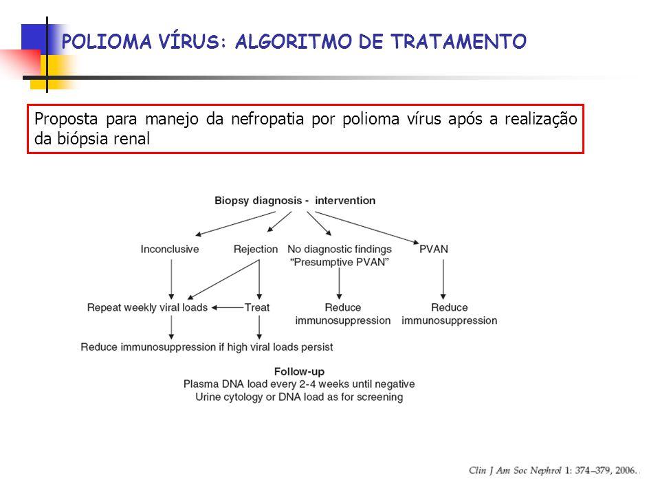 POLIOMA VÍRUS: ALGORITMO DE TRATAMENTO Proposta para manejo da nefropatia por polioma vírus após a realização da biópsia renal
