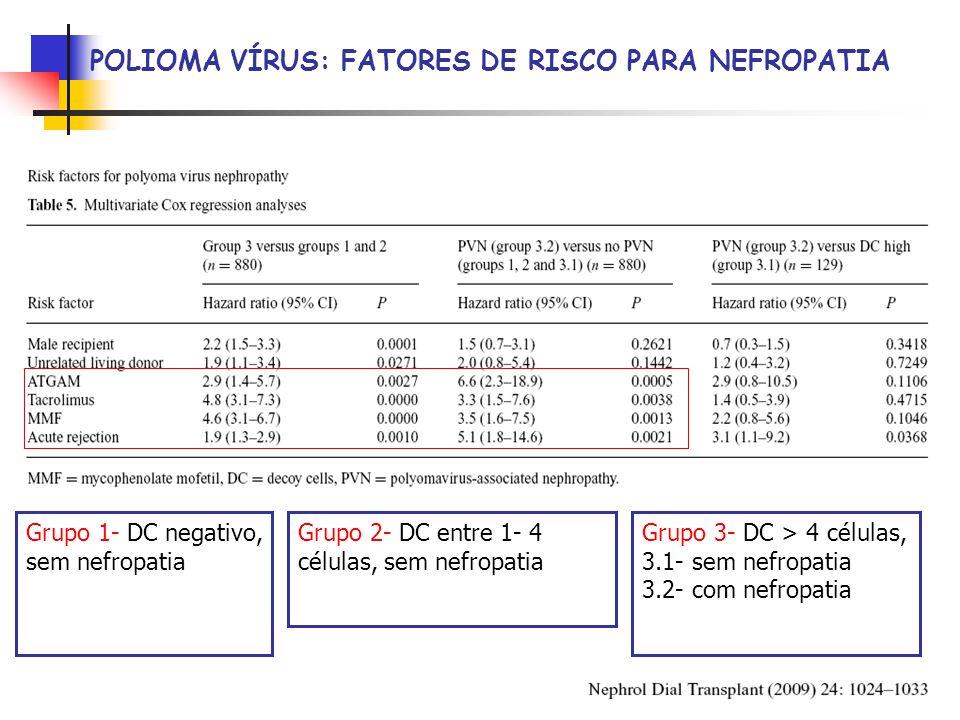 Grupo 1- DC negativo, sem nefropatia Grupo 2- DC entre 1- 4 células, sem nefropatia Grupo 3- DC > 4 células, 3.1- sem nefropatia 3.2- com nefropatia