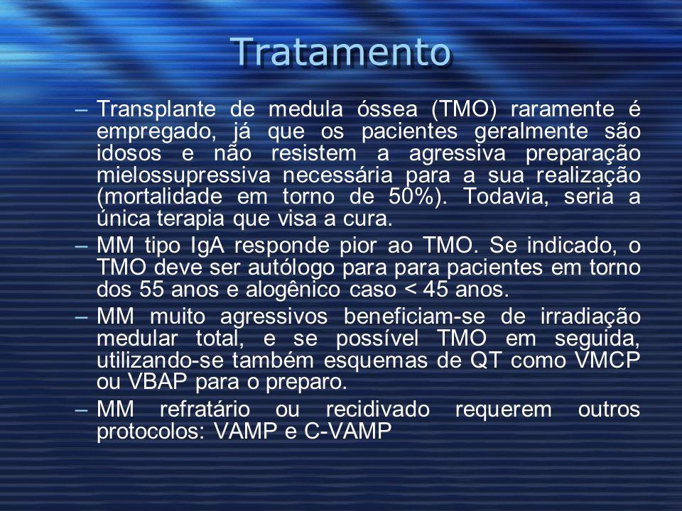 Tratamento –Transplante de medula óssea (TMO) raramente é empregado, já que os pacientes geralmente são idosos e não resistem a agressiva preparação mielossupressiva necessária para a sua realização (mortalidade em torno de 50%).