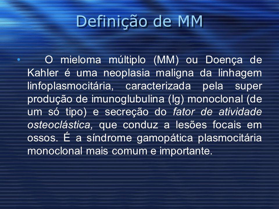 Definição de MM O mieloma múltiplo (MM) ou Doença de Kahler é uma neoplasia maligna da linhagem linfoplasmocitária, caracterizada pela super produção de imunoglubulina (Ig) monoclonal (de um só tipo) e secreção do fator de atividade osteoclástica, que conduz a lesões focais em ossos.