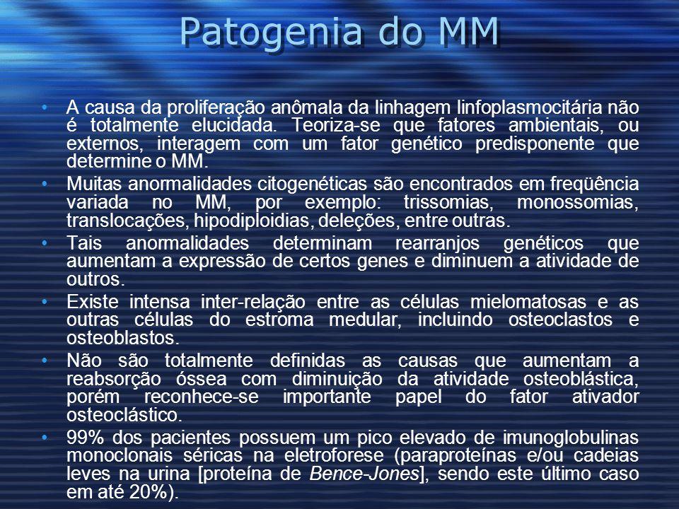 Patogenia do MM A causa da proliferação anômala da linhagem linfoplasmocitária não é totalmente elucidada.