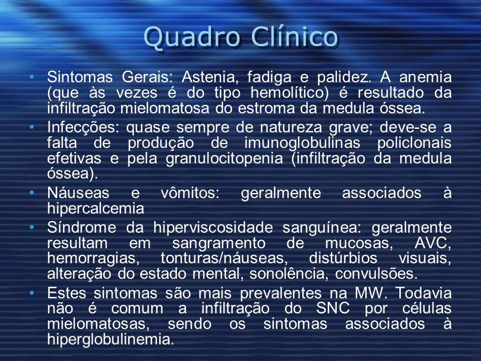 Quadro Clínico Sintomas Gerais: Astenia, fadiga e palidez.