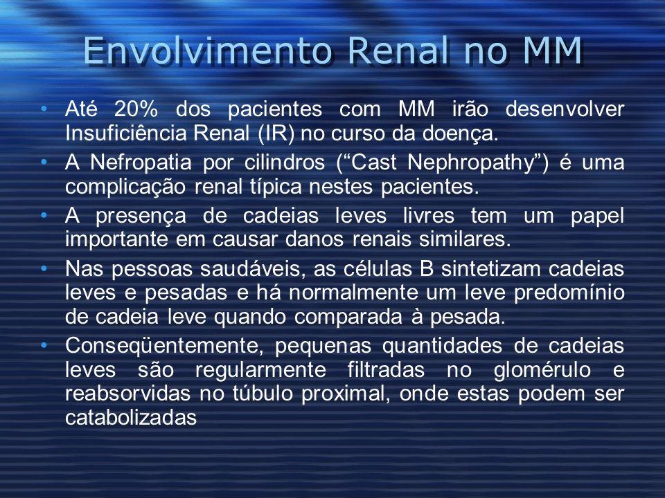 Envolvimento Renal no MM Até 20% dos pacientes com MM irão desenvolver Insuficiência Renal (IR) no curso da doença.