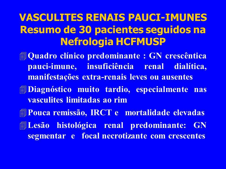 VASCULITES RENAIS PAUCI-IMUNES Conclusões 4Pacientes adultos (especialmente acima de 40 anos) com quadro de síndrome nefrítica, hematúria+proteinúria (simulando Nefropatia da IgA) ou IRA inexplicável com hematúria, devem obrigatoriamente fazer pesquisa de ANCA 4Com ANCA positivo, iniciar imediatamente a imunossupressão com corticosteroides e ciclofosfamida - a biópsia renal poderá ser realizada posteriormente, para o prognóstico