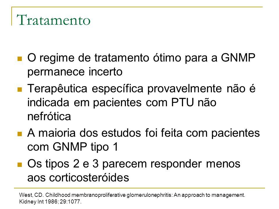 Tratamento O regime de tratamento ótimo para a GNMP permanece incerto Terapêutica específica provavelmente não é indicada em pacientes com PTU não nef