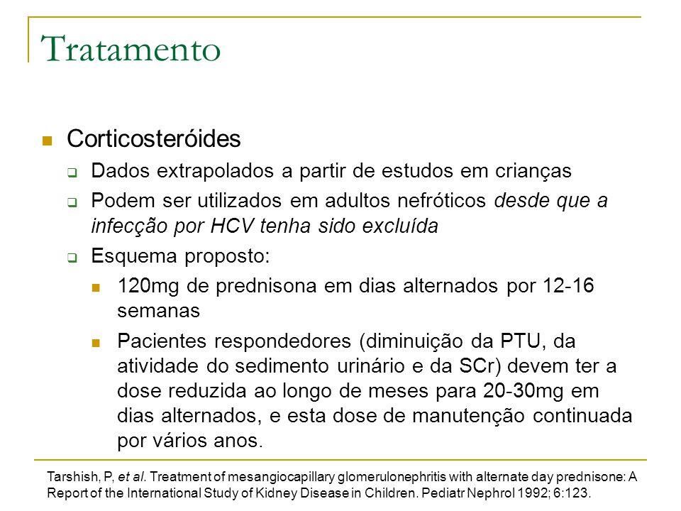 Tratamento Corticosteróides  Dados extrapolados a partir de estudos em crianças  Podem ser utilizados em adultos nefróticos desde que a infecção por