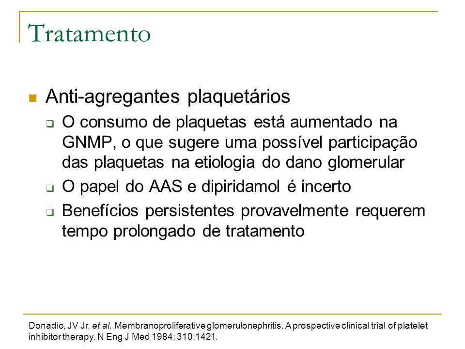 Tratamento Anti-agregantes plaquetários  O consumo de plaquetas está aumentado na GNMP, o que sugere uma possível participação das plaquetas na etiol