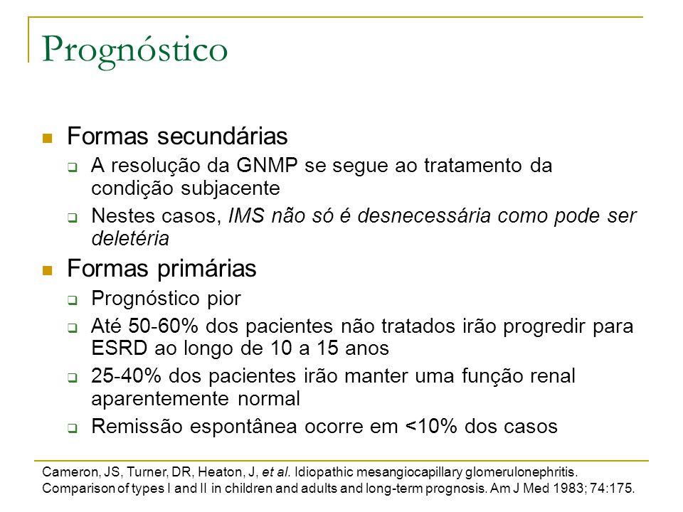Prognóstico Formas secundárias  A resolução da GNMP se segue ao tratamento da condição subjacente  Nestes casos, IMS não só é desnecessária como pod