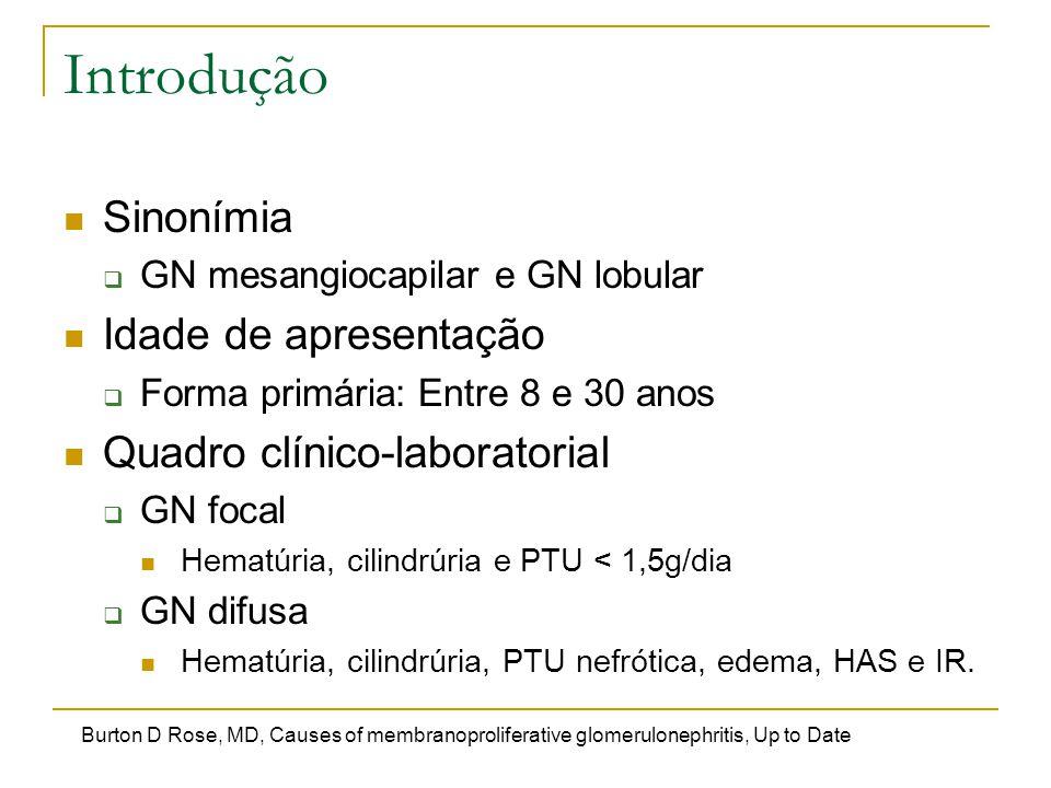 Introdução Sinonímia  GN mesangiocapilar e GN lobular Idade de apresentação  Forma primária: Entre 8 e 30 anos Quadro clínico-laboratorial  GN foca