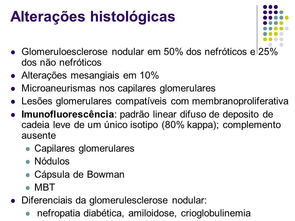Alterações histológicas Glomeruloesclerose nodular em 50% dos nefróticos e 25% dos não nefróticos Alterações mesangiais em 10% Microaneurismas nos cap