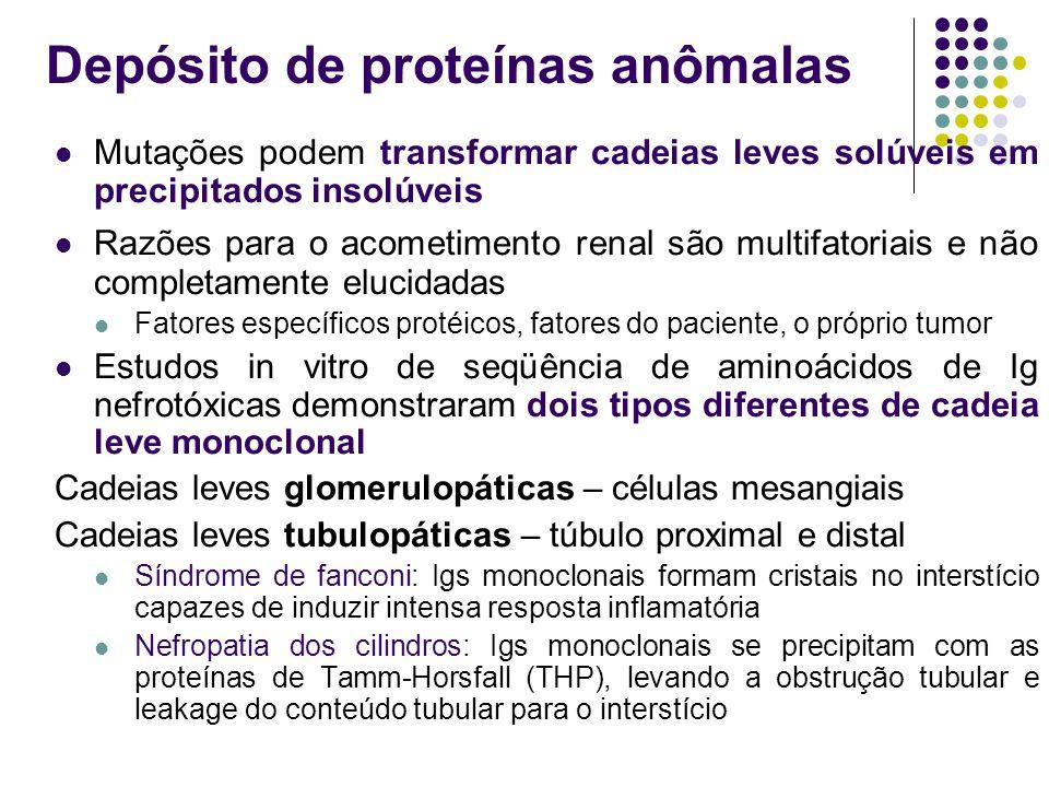 Mutações podem transformar cadeias leves solúveis em precipitados insolúveis Razões para o acometimento renal são multifatoriais e não completamente e