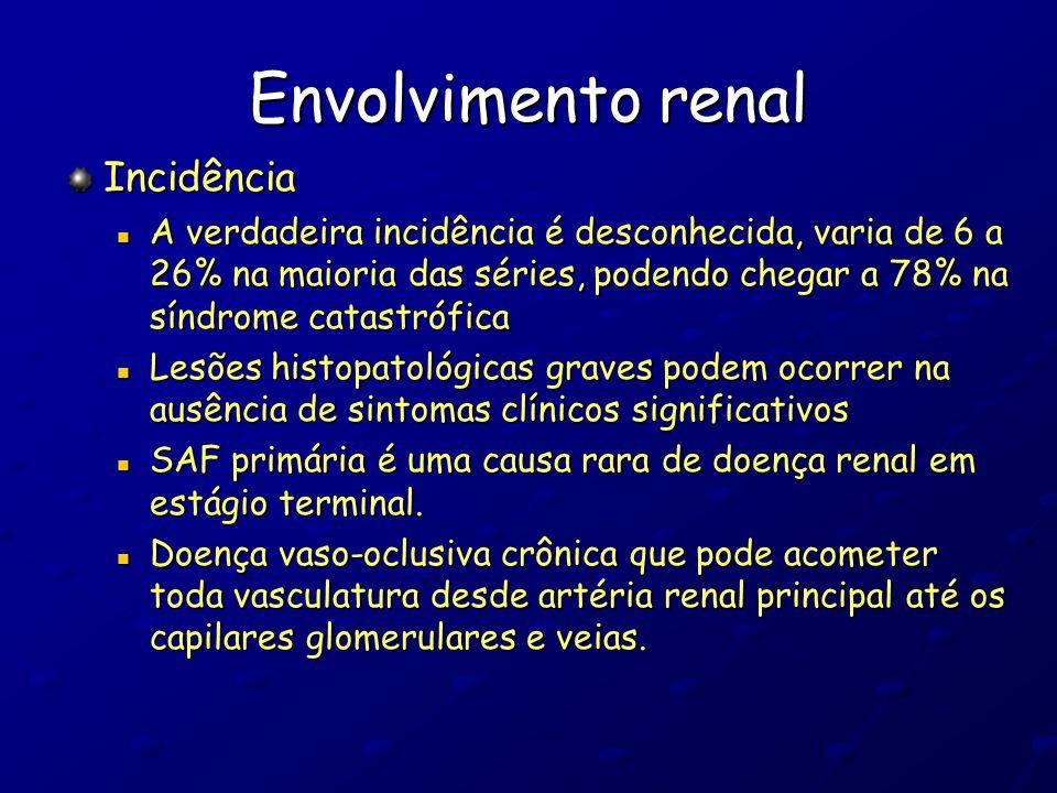 Envolvimento renal Incidência A verdadeira incidência é desconhecida, varia de 6 a 26% na maioria das séries, podendo chegar a 78% na síndrome catastr