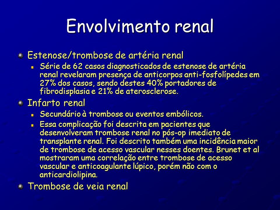 Envolvimento renal Estenose/trombose de artéria renal Série de 62 casos diagnosticados de estenose de artéria renal revelaram presença de anticorpos a