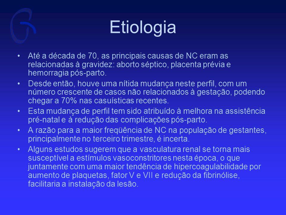 Etiologia Dentre as causas não relacionadas à gestação, destacam-se: –Sepse –Drogas –Síndrome hemolítico-urêmica –Coagulação intravascular disseminada –Rejeição de enxerto renal –Pancreatite –Poliarterite nodosa –Dissecção de aorta –Acidentes ofídicos