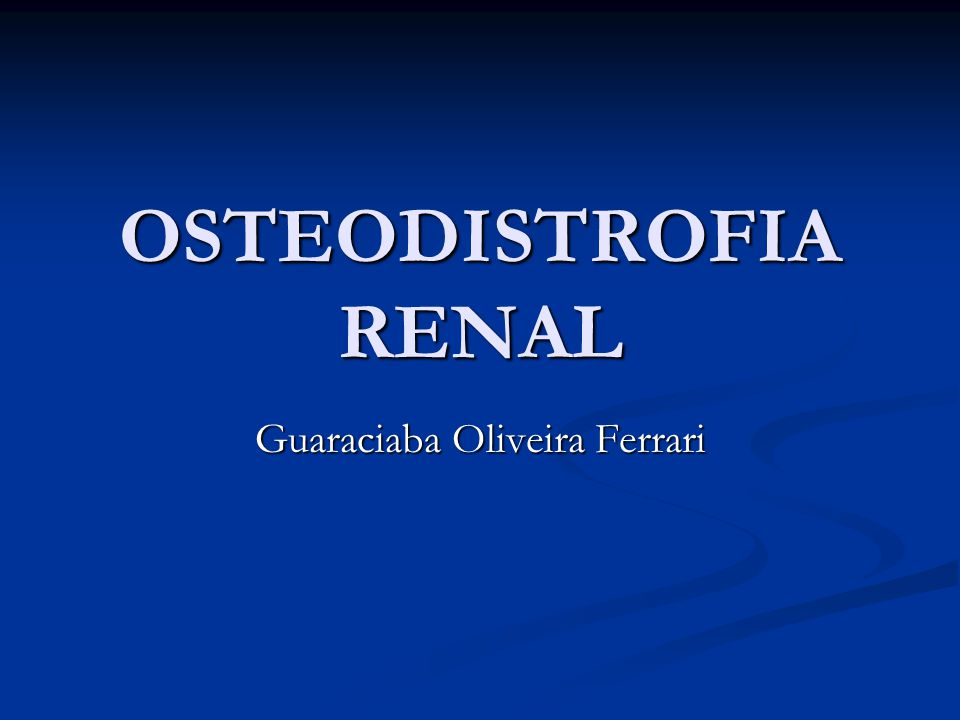 Osteodistrofia Renal A osteodistrofia renal(OR) é o termo usado para descrever as alterações ósseas decorrentes dos distúrbios do metabolismo mineral nos pacientes com Doença Renal Crônica (DRC).