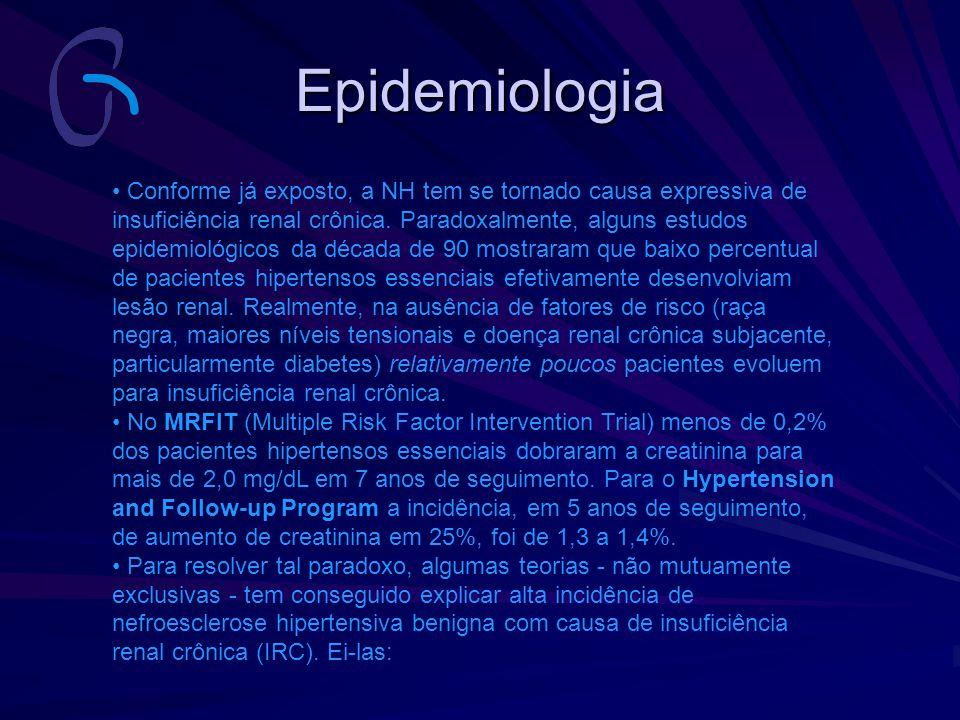 Epidemiologia Conforme já exposto, a NH tem se tornado causa expressiva de insuficiência renal crônica. Paradoxalmente, alguns estudos epidemiológicos