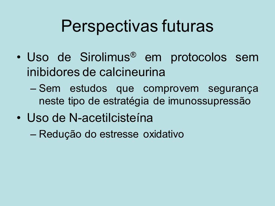 Perspectivas futuras Uso de Sirolimus ® em protocolos sem inibidores de calcineurina –Sem estudos que comprovem segurança neste tipo de estratégia de