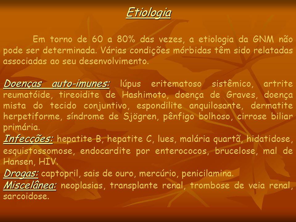 Etiologia Em torno de 60 a 80% das vezes, a etiologia da GNM não pode ser determinada.