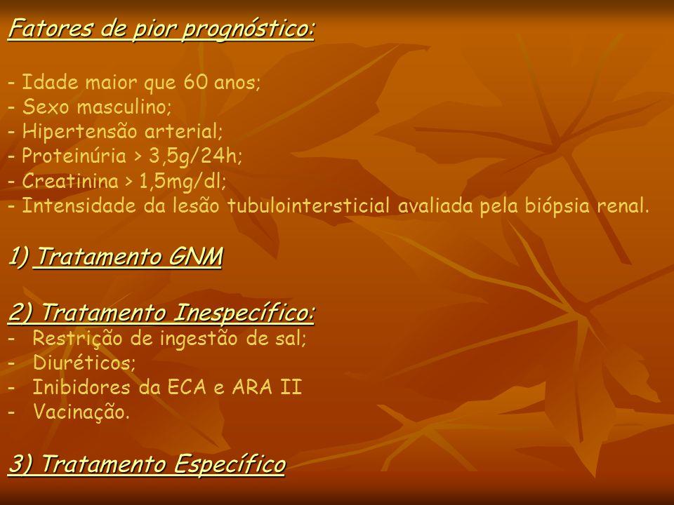 1)Tratamento GNM 2) Tratamento Inespecífico: -Restrição de ingestão de sal; -Diuréticos; -Inibidores da ECA e ARA II -Vacinação. 3) Tratamento Específ