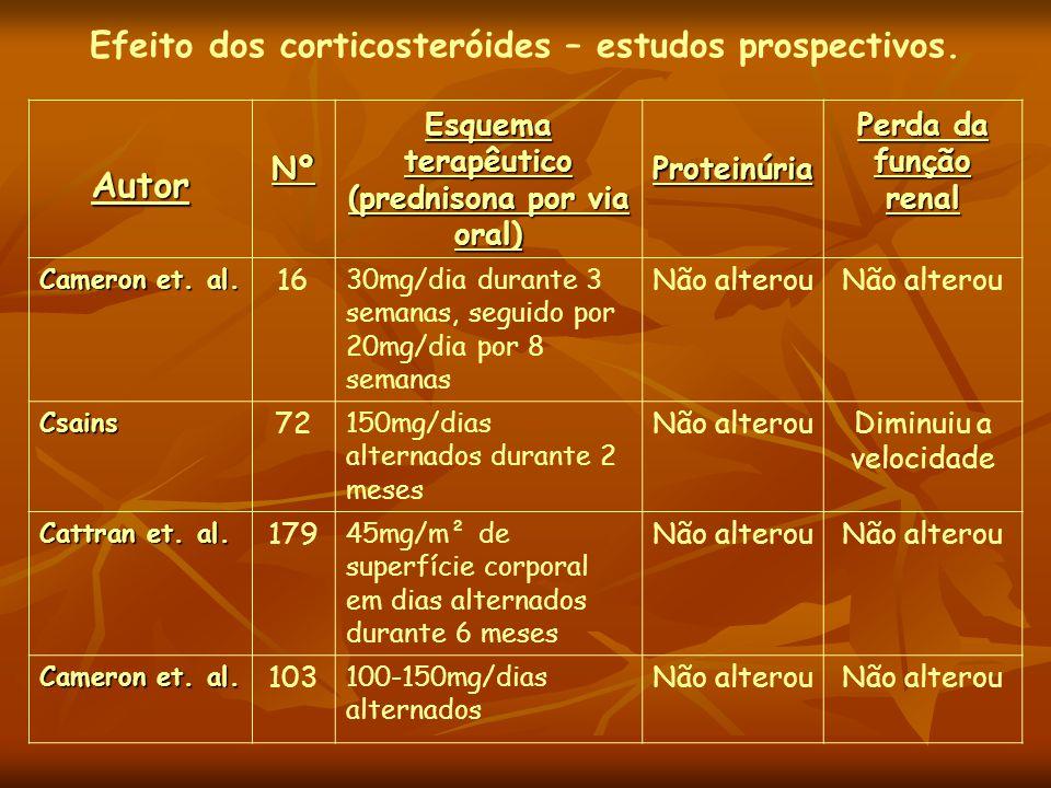 Efeito dos corticosteróides – estudos prospectivos. AutorNº Esquema terapêutico (prednisona por via oral) Proteinúria Perda da função renal Cameron et