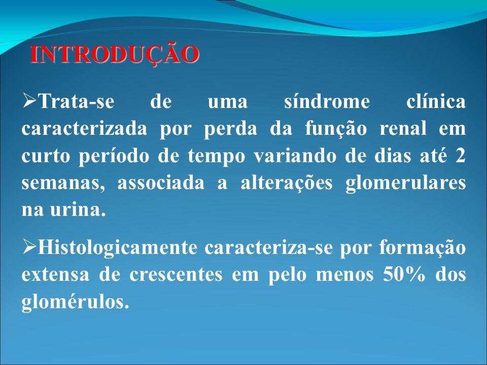 HISTÓRICO  O termo glomerulonefrite rapidamente progressiva (GNRP) foi inicialmente utilizado para descrever um grupo de pacientes com uma forma fulminante de glomerulonefrite pós estreptocócica que evoluiu com perda súbita de função renal.