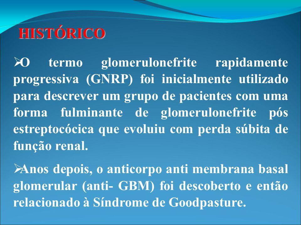 HISTÓRICO  Nos anos 70, surgiram diversos jovens com critérios para GNRP sem causa aparente, vários com sinais sistêmicos de vasculite e outros com doença restrita ao rim.
