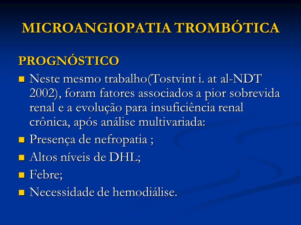 MICROANGIOPATIA TROMBÓTICA PROGNÓSTICO Neste mesmo trabalho(Tostvint i.
