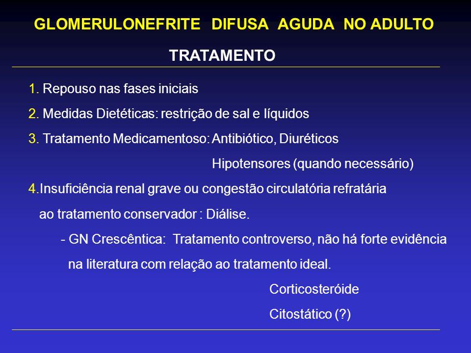 TRATAMENTO 1.Repouso nas fases iniciais 2. Medidas Dietéticas: restrição de sal e líquidos 3.