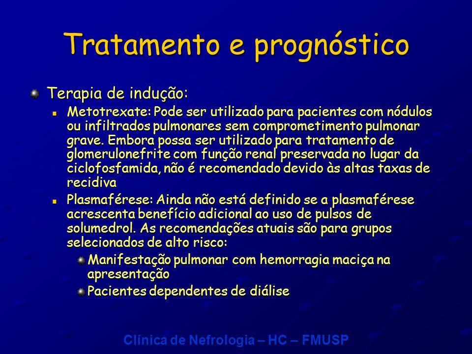 Clínica de Nefrologia – HC – FMUSP Tratamento e prognóstico Terapia de indução: Metotrexate: Pode ser utilizado para pacientes com nódulos ou infiltrados pulmonares sem comprometimento pulmonar grave.