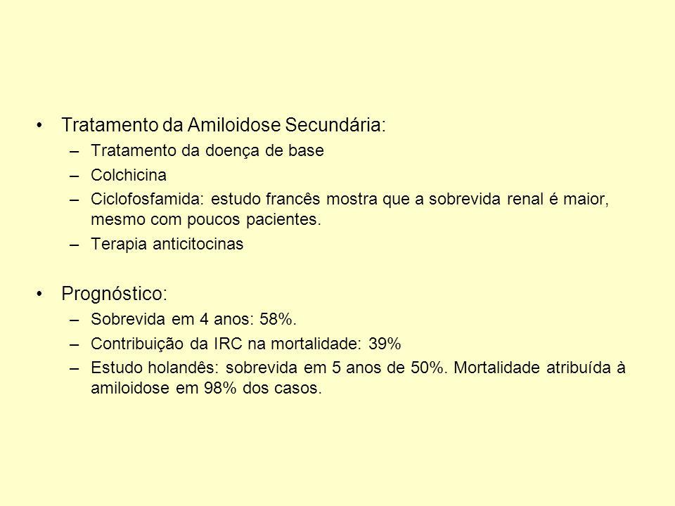 Tratamento da Amiloidose Secundária: –Tratamento da doença de base –Colchicina –Ciclofosfamida: estudo francês mostra que a sobrevida renal é maior, m