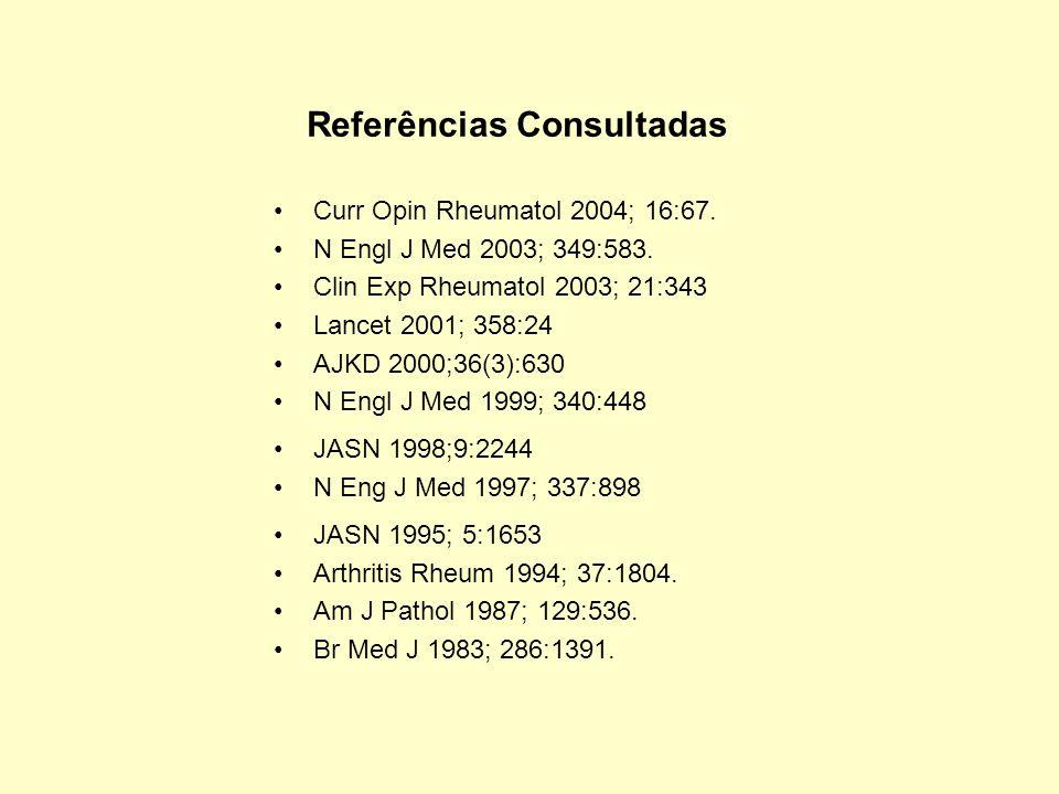 Curr Opin Rheumatol 2004; 16:67. N Engl J Med 2003; 349:583. Clin Exp Rheumatol 2003; 21:343 Lancet 2001; 358:24 AJKD 2000;36(3):630 N Engl J Med 1999