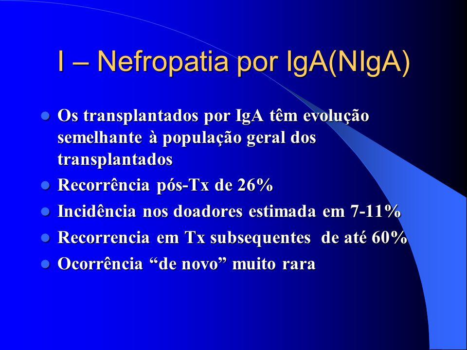 I – Nefropatia por IgA(NIgA) Os transplantados por IgA têm evolução semelhante à população geral dos transplantados Os transplantados por IgA têm evolução semelhante à população geral dos transplantados Recorrência pós-Tx de 26% Recorrência pós-Tx de 26% Incidência nos doadores estimada em 7-11% Incidência nos doadores estimada em 7-11% Recorrencia em Tx subsequentes de até 60% Recorrencia em Tx subsequentes de até 60% Ocorrência de novo muito rara Ocorrência de novo muito rara